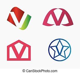 logotipo, jogo, v, letra, ícone