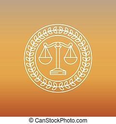 logotipo, jurídico, vector, legal, señal