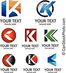 logotipo, k, conjunto, carta