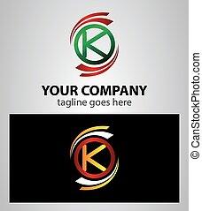 logotipo, k, set, lettera, icona