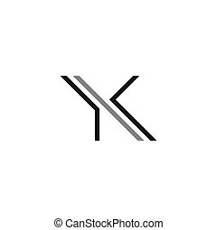 logotipo, ky, vettore, lettera, iniziale