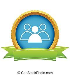 logotipo, líder, oro