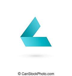 logotipo, l, carta, icono