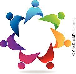 logotipo, lavorante, lavoro squadra, affari