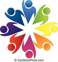 logotipo, lavorante, lavoro squadra, ottimistico