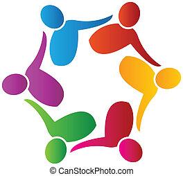 logotipo, lavorante, vettore, lavoro squadra, sociale