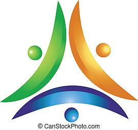 logotipo, lavorare insieme, squadra