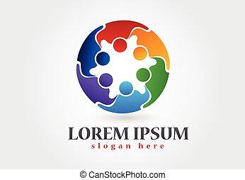 logotipo, lavoro squadra, abbracciare, persone