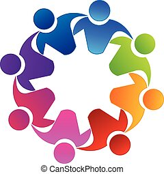 logotipo, lavoro squadra, abbracciare