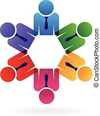 logotipo, lavoro squadra, affari esecutivi