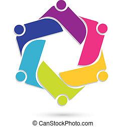 logotipo, lavoro squadra, affari persone