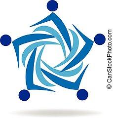 logotipo, lavoro squadra, affari