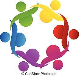 logotipo, lavoro squadra, aiuto, comunità