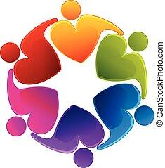 logotipo, lavoro squadra, amare cuore