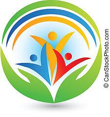 logotipo, lavoro squadra, collegamenti, vettore