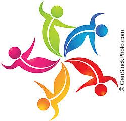 logotipo, lavoro squadra, colorito, mette foglie, persone