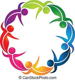 logotipo, lavoro squadra, colorito, mette foglie