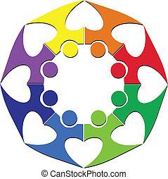 logotipo, lavoro squadra, cuore