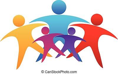 logotipo, lavoro squadra, famiglia, persone