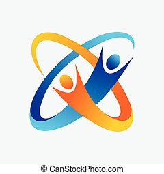 logotipo, lavoro squadra, icona