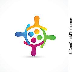 logotipo, lavoro squadra, insieme, mani