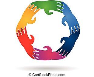 logotipo, lavoro squadra, intorno, mani