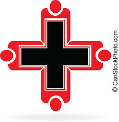 logotipo, lavoro squadra, medico