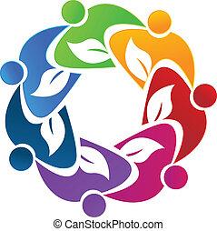 logotipo, lavoro squadra, mette foglie, persone