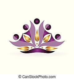 logotipo, lavoro squadra, oro, mette foglie