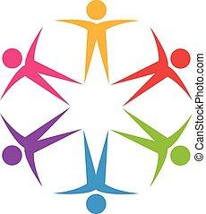 logotipo, lavoro squadra, ottimistico