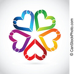 logotipo, lavoro squadra, persone, cuori