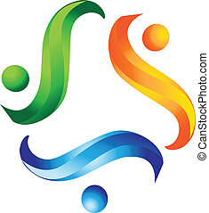 logotipo, lavoro squadra, porzione