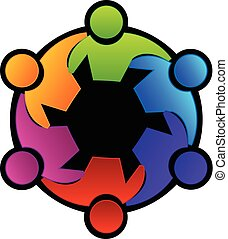 logotipo, lavoro squadra, riunione, abbracciare, persone