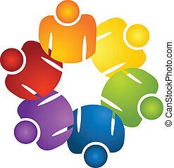 logotipo, lavoro squadra, tenere mani