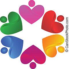logotipo, lavoro squadra, volontario, cuori