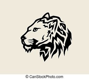 logotipo, leão, rosto
