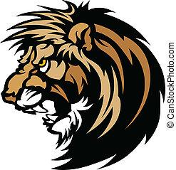 logotipo, león, gráfico, cabeza, mascota