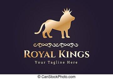 logotipo, león, vector, real, silueta