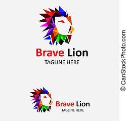 logotipo, leone, coraggioso, sagoma