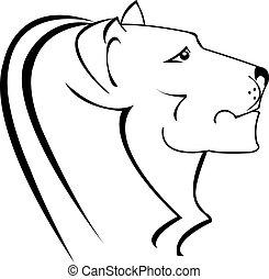 logotipo, leone, silhouette