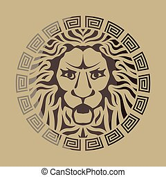logotipo, leone, stile, vendemmia