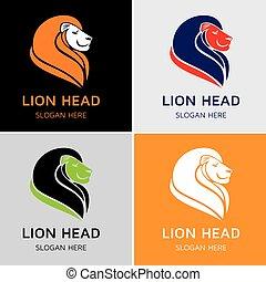 logotipo, leone, testa, sagoma