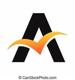 logotipo, letra, pássaro