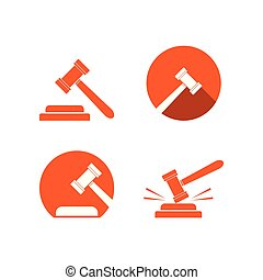 logotipo, ley, martillo, plantilla, colección