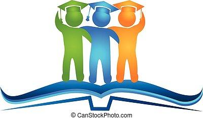 logotipo, libro, graduados