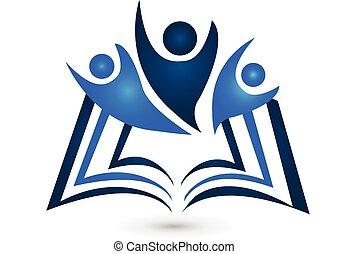 logotipo, libro, trabajo en equipo