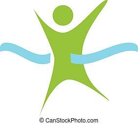 logotipo, linea, fine, verde, corsa