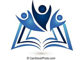 logotipo, livro, educação, trabalho equipe