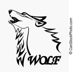 logotipo, lobo