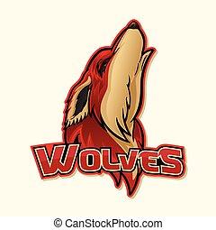 logotipo, lobo, coloridos